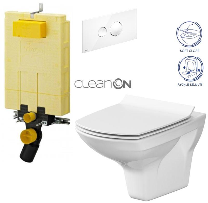 /SET/VIEGA - MONO modul WC čelné ovládanie + ovládacie tlačidlo BIELE + WC CERSANIT CARINA CLEAN ON + SEDADLO (V606732BI Ca3)