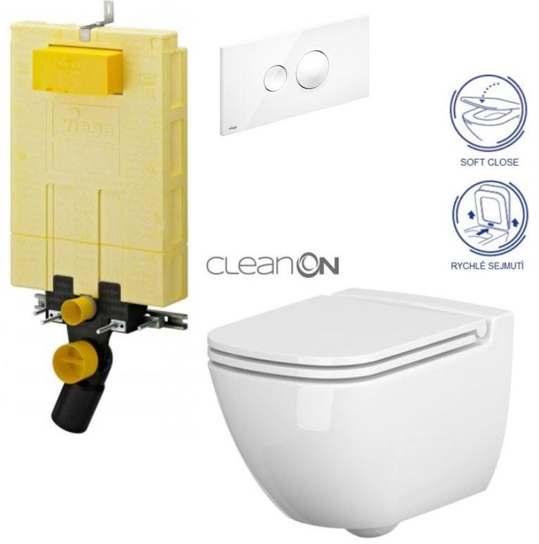 /SET/VIEGA - MONO modul WC čelné ovládanie + ovládacie tlačidlo BIELE + WC CERSANIT CASPIA CLEAN ON + SEDADLO (V606732BI CP1)