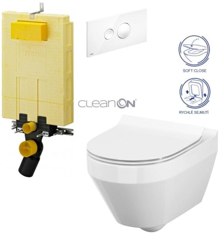 AKCE/SET/VIEGA - VIEGA - MONO modul WC čelné ovládanie + ovládacie tlačidlo BIELE + WC CERSANIT CREA OVÁL CLEAN ON + SEDÁTKA (V606732BI CR1)