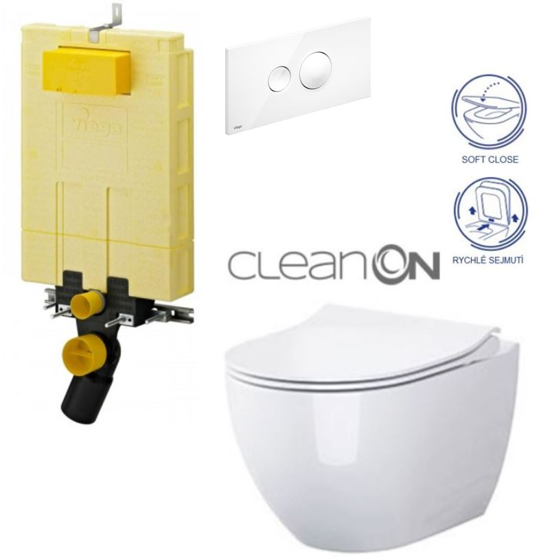 AKCE/SET/VIEGA - VIEGA - MONO modul WC čelné ovládanie + ovládacie tlačidlo BIELE + WC CERSANIT URBAN HARMON YCLEAN ON + SEDADLO (V606732BI HA1)