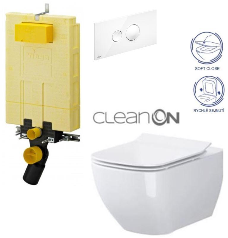/SET/VIEGA - MONO modul WC čelné ovládanie + ovládacie tlačidlo BIELE + WC CERSANIT METROPOLITAN CLAON ON + sedák (V606732BI ME1)