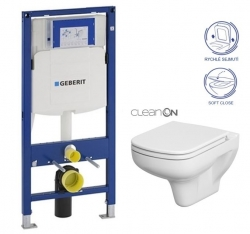 AKCE/SET/GEBERIT - SET Duofix pre závesné WC 111.300.00.5 bez ovládacej dosky + WC CERSANIT COLOUR NEW CLEAN ON + Sedadlo (111.300.00.5 CN1