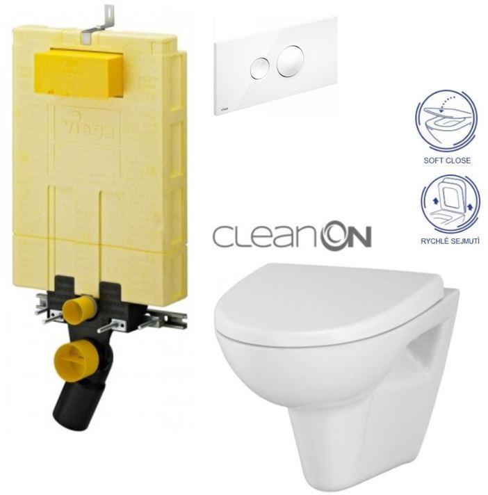 /SET/VIEGA - MONO modul WC čelní ovládání + ovládací tlačítko BÍLÉ + WC CERSANIT PARVA CLEANON + SEDÁTKO (V606732BI PA1)