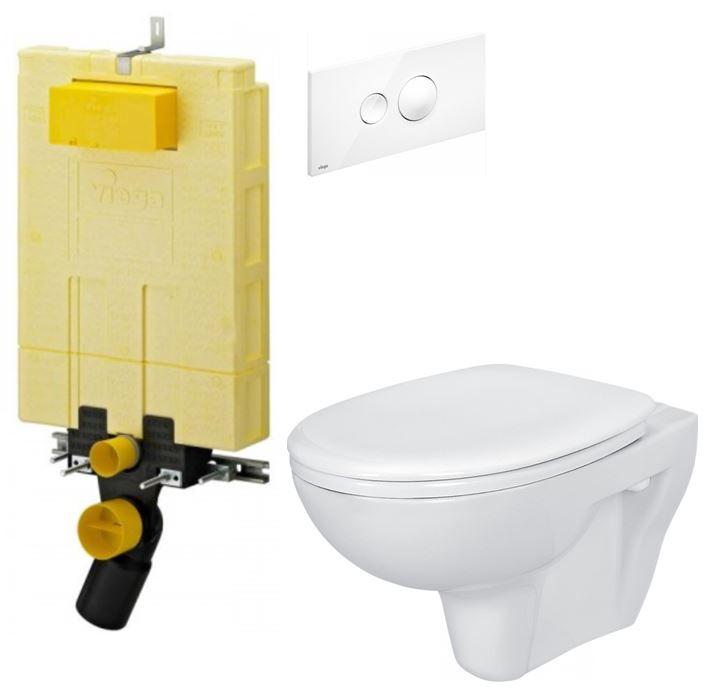/SET/VIEGA - MONO modul WC čelné ovládanie + ovládacie tlačidlo BIELE + WC CERSANIT PRESIDENT + SEDADLO (V606732BI PR1)