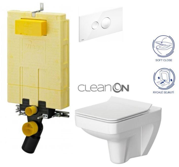 /SET/VIEGA - MONO modul WC čelné ovládanie + ovládacie tlačidlo BIELE + WC CERSANIT SPLENDOUR CLEAN ON + SEDÁTKA (V606732BI SP1)