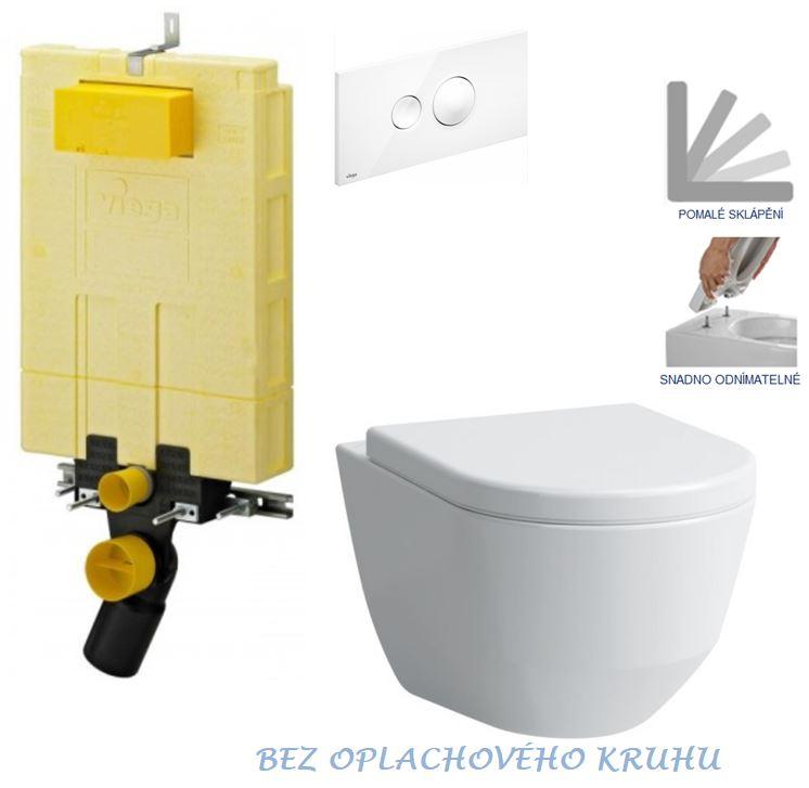 /SET/VIEGA - MONO modul WC čelné ovládanie + ovládacie tlačidlo BIELE + WC LAUFEN PRO RIMLESS + SEDADLO (V606732BI LP1)