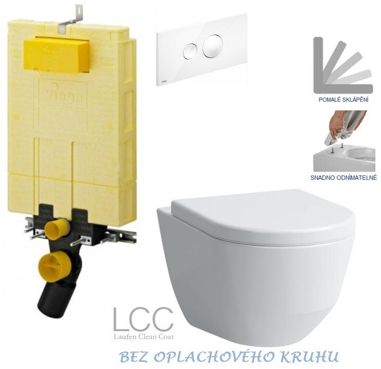/SET/VIEGA - MONO modul WC čelné ovládanie + ovládacie tlačidlo BIELE + WC LAUFEN PRO LCC RIMLESS + SEDADLO (V606732BI LP2)