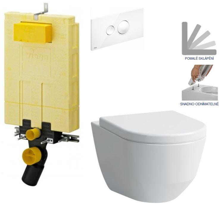 /SET/VIEGA - MONO modul WC čelné ovládanie + ovládacie tlačidlo BIELE + WC LAUFEN PRO + SEDADLO (V606732BI LP3)