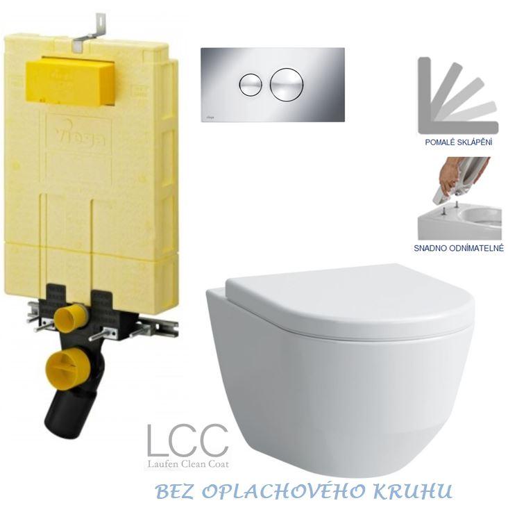 /SET/VIEGA - MONO modul WC čelné ovládanie + ovládacie tlačidlo CHRÓM + WC LAUFEN PRO LCC RIMLESS + SEDADLO (V606732CR LP2)