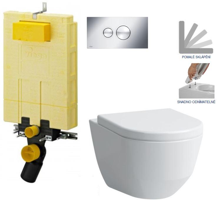 /SET/VIEGA - MONO modul WC čelné ovládanie + ovládacie tlačidlo CHRÓM + WC LAUFEN PRO + SEDADLO (V606732CR LP3)