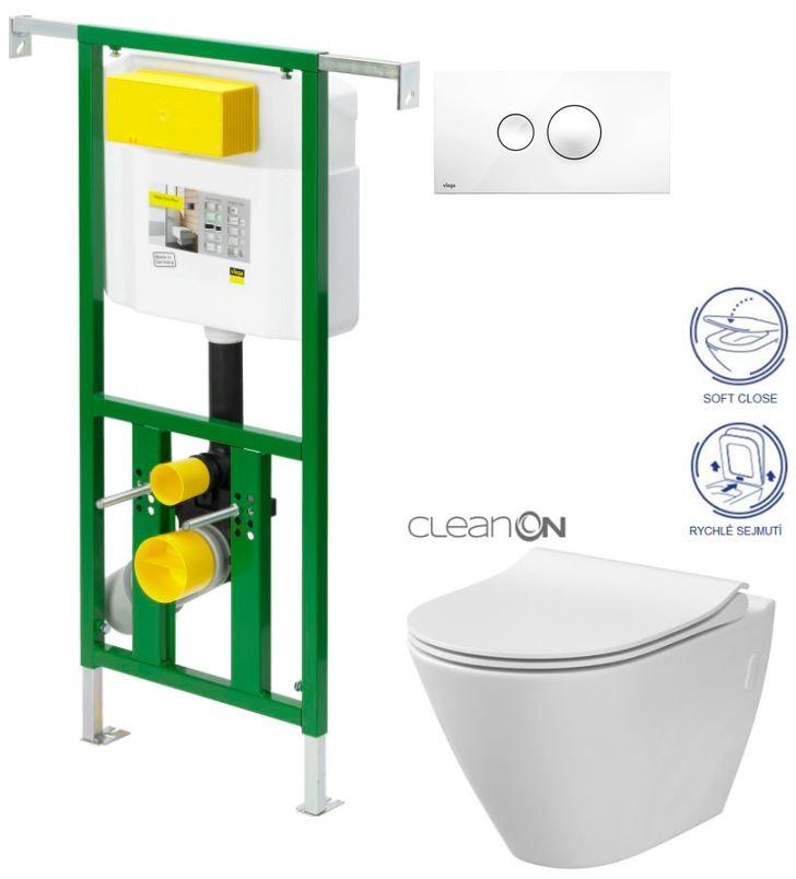 AKCE/SET/VIEGA - VIEGA - Eko PLUS modul do jadra WC čelnej ovládanie SET BIELE + ovládacie tlačidlo BIELE + WC CERSANIT CITY CLEAN ON + SEDÁTKO (V622176BI CI1)