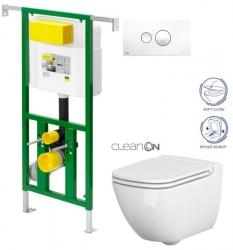 AKCE/SET/VIEGA - Eko PLUS modul do jadra WC čelnej ovládanie SET BIELE + ovládacie tlačidlo BIELE + WC CERSANIT Casp CLEAN ON + SEDADLO (V622176BI CP1)