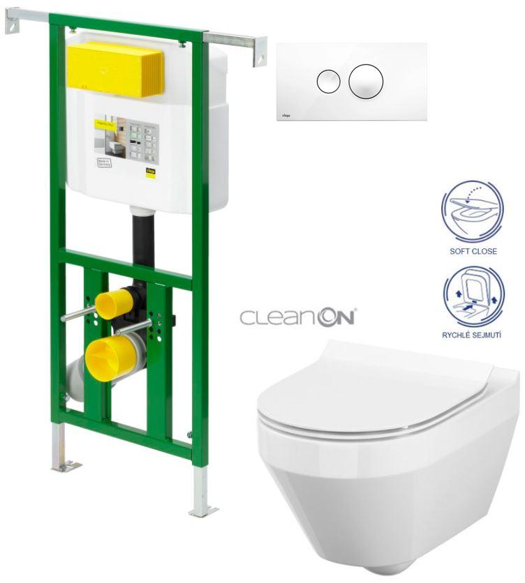 AKCE/SET/VIEGA - VIEGA - Eko PLUS modul do jadra WC čelnej ovládanie SET BIELE + ovládacie tlačidlo BIELE + WC CERSANIT CREA OVÁL CLEAN ON + SEDADLO (V622176BI CR1)
