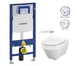 AKCE/SET/GEBERIT - SET Duofix pre závesné WC 111.300.00.5 CR + klozet a sedadlo CERSANIT CREA OVAL CLEAN ON / K114-015 + K98-0177 / (111.300.00.5 CR1)