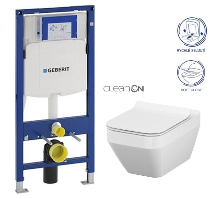 GEBERIT Duofix bez ovládacej dosky + WC CERSANIT CLEANON CREA štvorec + SEDADLO 111.300.00.5 CR2
