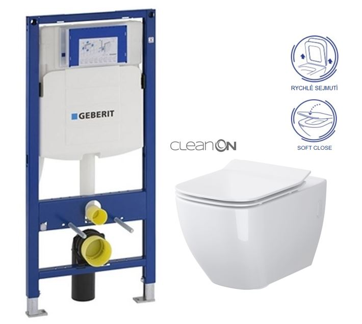 AKCE/SET/GEBERIT - Duofix pre závesné WC 111.300.00.5 bez ovládacej dosky + WC CERSANIT METROPOLITAN CLEAN ON + Sedadlo (111.300.00.5 ME1)