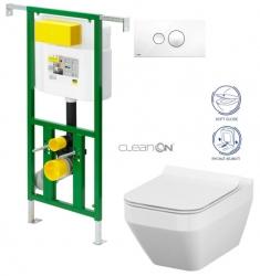 AKCE/SET/VIEGA - Eko PLUS modul do jadra WC čelnej ovládanie SET BIELE + ovládacie tlačidlo BIELE + WC CERSANIT CREA ŠTVOREC CLEAN ON + SEDADLO (V622176BI CR2)