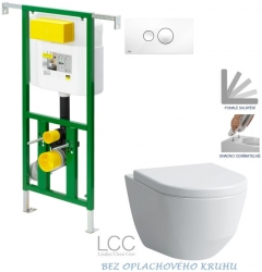 AKCE/SET/VIEGA - Eko PLUS modul do jadra WC čelnej ovládanie SET BIELE + ovládacie tlačidlo BIELE + WC LAUFEN PRO LCC ROMLESS + SEDADLO (V622176BI LP2)