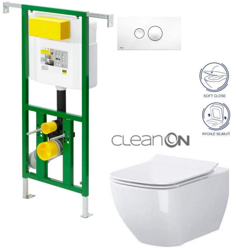 /SET/VIEGA - Eko PLUS modul do jadra WC čelnej ovládanie SET BIELE + ovládacie tlačidlo BIELE + WC CERSANIT METROPOLITAN CLEAN ON + SEDADLO (V622176BI ME1)