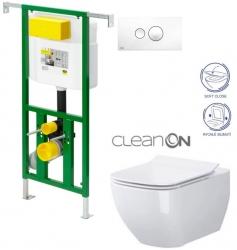 AKCE/SET/VIEGA - Eko PLUS modul do jadra WC čelnej ovládanie SET BIELE + ovládacie tlačidlo BIELE + WC CERSANIT METROPOLITAN CLEAN ON + SEDADLO (V622176BI ME1)