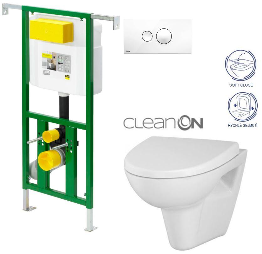 AKCE/SET/VIEGA - VIEGA - Eko PLUS modul do jadra WC čelnej ovládanie SET BIELE + ovládacie tlačidlo BIELE + WC CERSANIT Parva CLEAN ON + SEDADLO (V622176BI PA1)