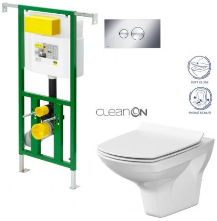AKCE/SET/VIEGA - Eko PLUS modul do jadra WC čelnej ovládanie SET CHRÓM + ovládacie tlačidlo CHRÓM + WC CERSANIT CARINA CLEAN ON + SEDADLO (V622176CR CA3)