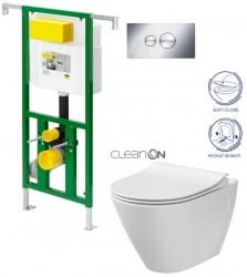 AKCE/SET/VIEGA - Eko PLUS modul do jadra WC čelnej ovládanie SET CHRÓM + ovládacie tlačidlo CHRÓM + WC CERSANIT CITY CLEAN ON + SEDADLO (V622176CR CI1)