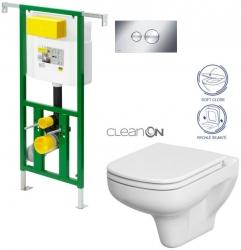 AKCE/SET/VIEGA - Eko PLUS modul do jadra WC čelnej ovládanie SET CHRÓM + ovládacie tlačidlo CHRÓM + WC CERSANIT COLOUR CLEAN ON + SEDADLO (V622176CR CN1)