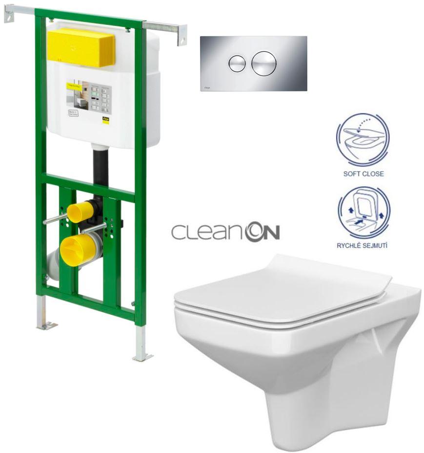 AKCE/SET/VIEGA - VIEGA - Eko PLUS modul do jadra WC čelnej ovládanie SET CHRÓM + ovládacie tlačidlo CHRÓM + WC CERSANIT COMO CLEAN ON + SEDADLO (V622176CR CO1)
