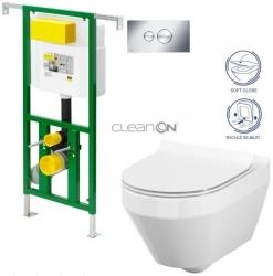 AKCE/SET/VIEGA - Eko PLUS modul do jadra WC čelnej ovládanie SET + ovládacie tlačidlo CHRÓM + WC CERSANIT CREA OVÁL CLEAN ON + SEDADLO (V622176CR CR1)