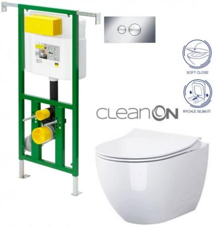 AKCE/SET/VIEGA - Eko PLUS modul do jadra WC čelnej ovládanie SET CHRÓM + ovládacie tlačidlo CHRÓM + WC CERSANIT URBAN HARMONY CLEAN ON + SEDADLO (V622176CR HA1)