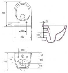 AKCE/SET/VIEGA - Eko PLUS modul do jadra WC čelnej ovládanie SET CHRÓM + ovládacie tlačidlo CHRÓM + WC CERSANIT URBAN HARMONY CLEAN ON + SEDADLO (V622176CR HA1), fotografie 4/9
