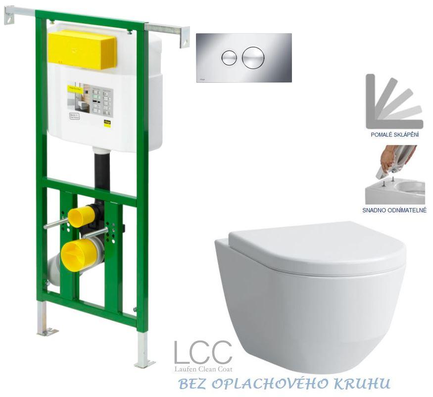 AKCE/SET/VIEGA - VIEGA - Eko PLUS modul do jadra WC čelnej ovládanie SET CHRÓM + ovládacie tlačidlo CHRÓM + WC LAUFEN PRO LCC RIMLESS + SEDADLO (V622176CR LP2)