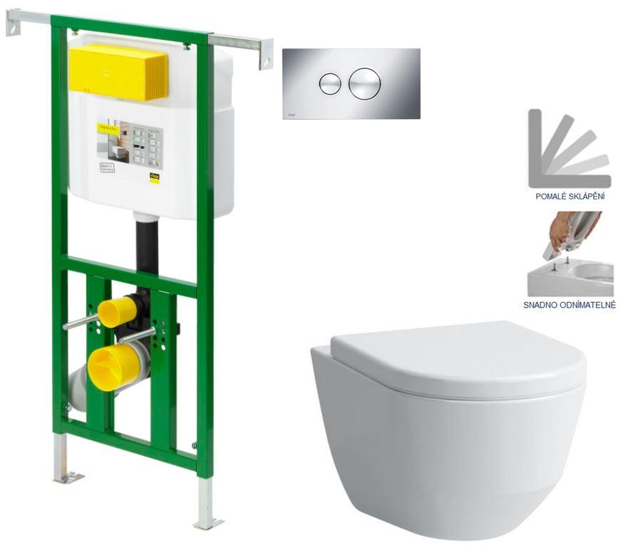 AKCE/SET/VIEGA - VIEGA - Eko PLUS modul do jadra WC čelnej ovládanie SET CHRÓM + ovládacie tlačidlo CHRÓM + WC LAUFEN PRO + SEDADLO (V622176CR LP3)