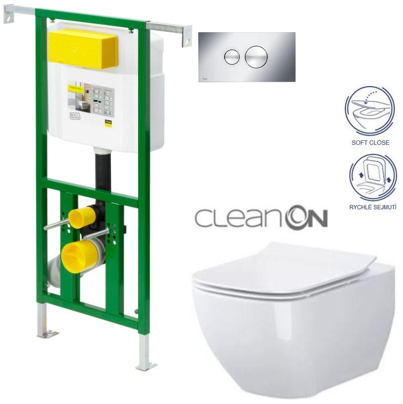 /SET/VIEGA - Eko PLUS modul do jadra WC čelnej ovládanie SET CHRÓM + ovládacie tlačidlo CHRÓM + WC CERSANIT metropolita CLEAN ON + SEDADLO (V622176CR ME1)