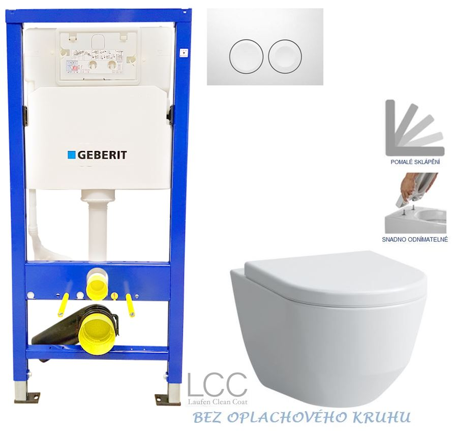 /SET/GEBERIT - Duofix Sada pro závěsné WC 458.103.00.1 + tlačítko DELTA21 bílé + WC LAUFEN PRO LCC RIMLESS + SEDÁTKO (458.103.00.1 21BI LP2)