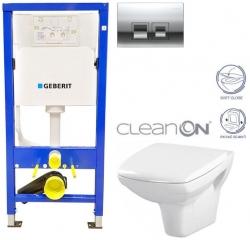 GEBERIT DuofixBasic s chrómovým tlačidlom DELTA50 + WC CERSANIT CLEANON CARINA + SEDADLO (458.103.00.1 50CR CA2)