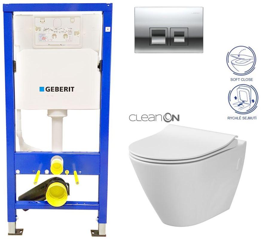 AKCE/SET/GEBERIT - Duofix Sada pro závěsné WC 458.103.00.1 + tlačítko DELTA50 CHROM + WC CERSANIT CITY CLEANON + SEDÁTKO (458.103.00.1 50CR CI1)