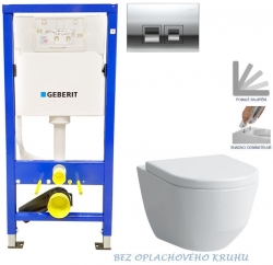 GEBERIT DuofixBasic s chrómovým tlačidlom DELTA50 + WC LAUFEN PRO RIMLESS + SEDADLO (458.103.00.1 50CR LP1)