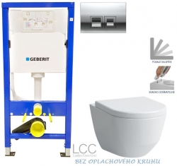 GEBERIT - SET Duofix Sada pro závěsné WC 458.103.00.1 + tlačítko DELTA50 CHROM + WC LAUFEN PRO LCC RIMLESS + SEDÁTKO (458.103.00.1 50CR LP2)