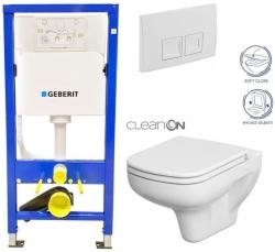 AKCE/SET/GEBERIT - Duofix Sada pro závěsné WC 458.103.00.1 + tlačítko DELTA50 bílé + WC CERSANIT COLOUR CLEANON + SEDÁTKO (458.103.00.1 50BI CN1)