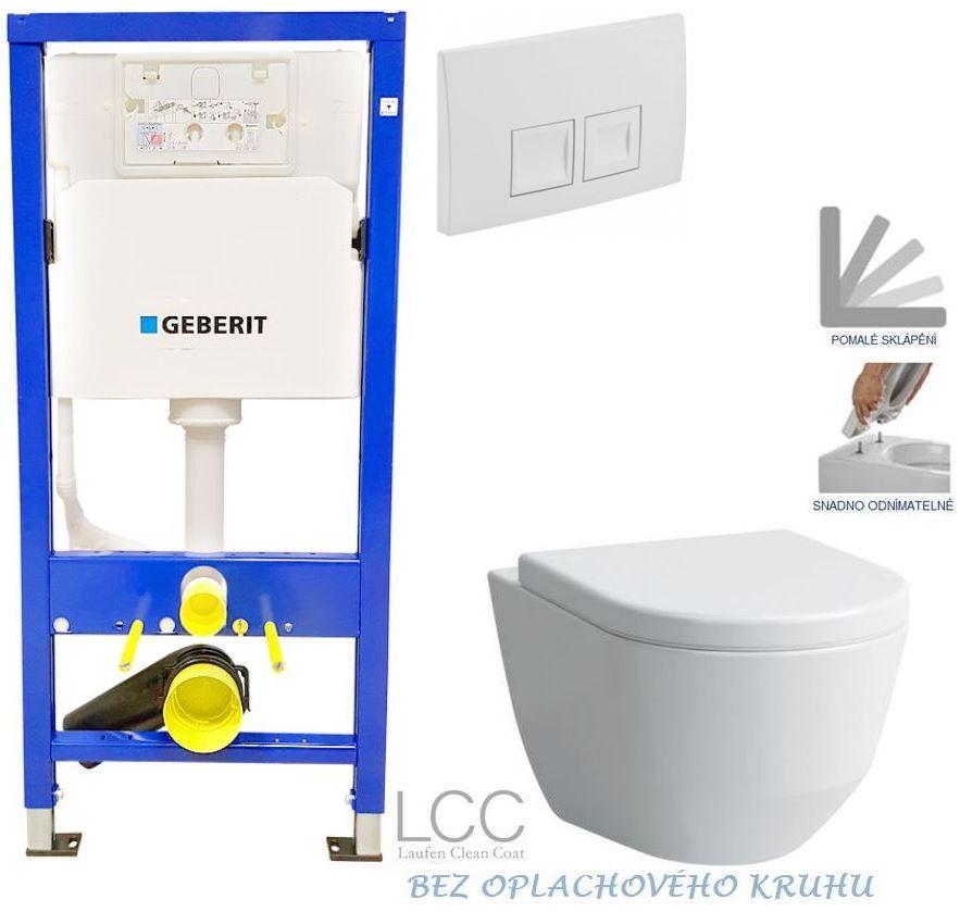 /SET/GEBERIT - Duofix Sada pro závěsné WC 458.103.00.1 + tlačítko DELTA50 bílé + WC LAUFEN PRO LCC RIMLESS + SEDÁTKO (458.103.00.1 50BI LP2)