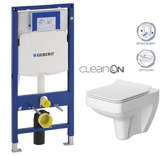 AKCE/SET/GEBERIT - Duofix pro závěsné WC 111.300.00.5 bez ovládací desky + WC CERSANIT SPLENDOUR CLEANON + Sedátko (111.300.00.5 SP1)