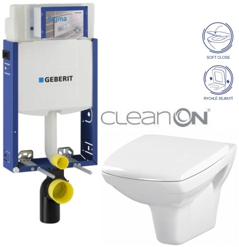AKCE/SET/GEBERIT - Kombifix KOMBIFIX ECO pro závěsné WC, nádržka UP 320 bez Ovládací desky + WC CERSANIT CARINA CLEANON + SEDÁTKO (110.302.00.5 CA2)