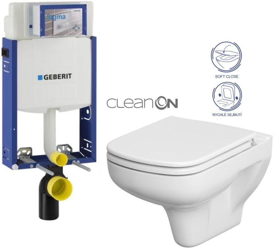 AKCE/SET/GEBERIT - Kombifix KOMBIFIX ECO pro závěsné WC, nádržka UP 320 bez Ovládací desky + WC CERSANIT COLOUR CLEANON + SEDÁTKO (110.302.00.5 CN1)