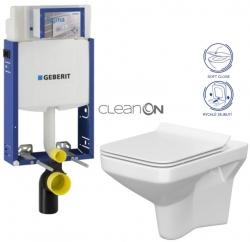 AKCE/SET/GEBERIT - SET Kombifix KOMBIFIX ECO pro závěsné WC, nádržka UP 320 bez Ovládací desky + WC CERSANIT COMO CLEANON + SEDÁTKO (110.302.00.5 CO1)