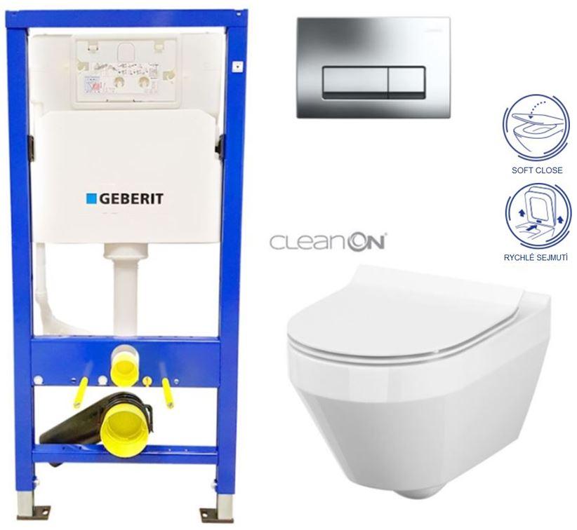 /SET/GEBERIT - Duofix Sada pre závesné WC 458.103.00.1 + tlačidlo + WC CERSANIT CREA OVÁL CLEAN ON + Sedadlo (458.103.00.1 CR1)