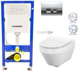 GEBERIT DuofixBasic s chrómovým tlačidlom DELTA50 + WC CERSANIT CLEANON CREA OVÁL + SEDADLO (458.103.00.1 50CR CR1)
