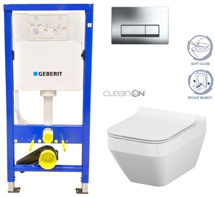 AKCE/SET/GEBERIT - Duofix Sada pre závesné WC 458.103.00.1 + tlačidlo + WC CERSANIT CREA HRANATÉ CLEANON + Sedadlo (458.103.00.1 CR2)