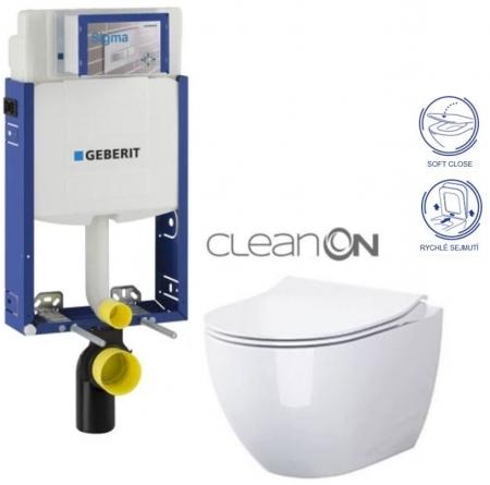 AKCE/SET/GEBERIT - Kombifix KOMBIFIX ECO pro závěsné WC, nádržka UP 320 bez Ovládací desky + WC OPOCZNO URBAN HARMONY CLEANON + SEDÁTKO (110.302.00.5 HA1)